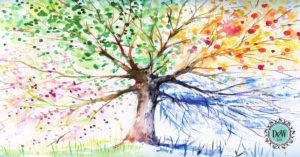 colorful tree showing al four seasons