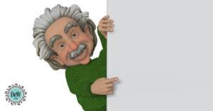 Cartoon Albert Einstein peeking around a corner