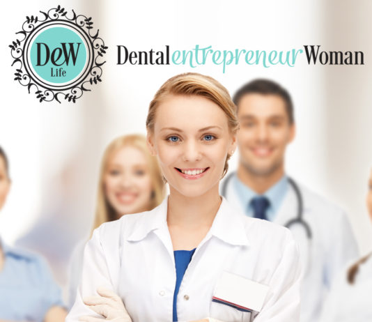 a smiling woman dental entrepreneur greets new patients with her team behind her - a good clinician