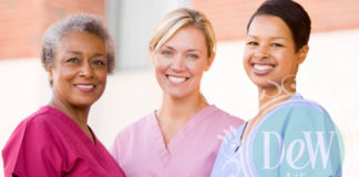 3 women comparing their choice of scrubs for the dental office